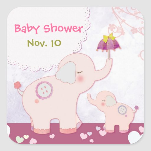 Pink Mom & Baby Elephants Baby Shower Stickers