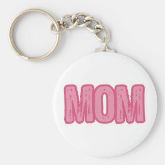 Pink Mom Basic Round Button Key Ring