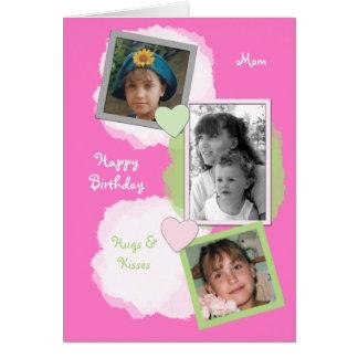 Pink Mom Birthday Photo Card