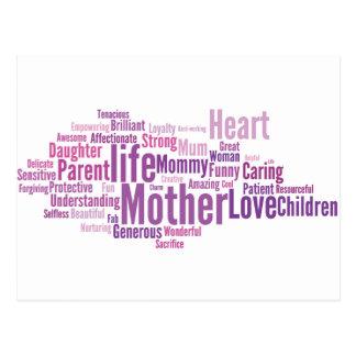 Pink Mom Cloud Type Postcard