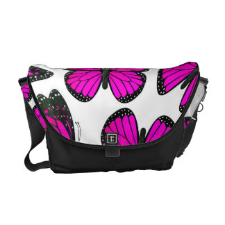 Pink Monarch Butterfly Pattern Messenger Bags