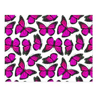 Pink Monarch Butterfly Pattern Postcard