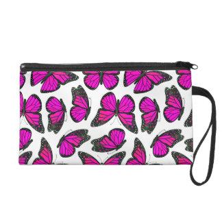 Pink Monarch Butterfly Pattern Wristlet Purses