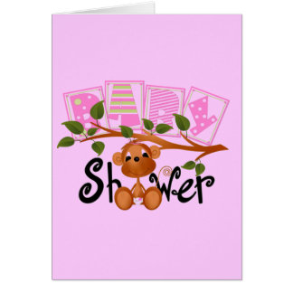 Pink Monkey Baby Shower Cards