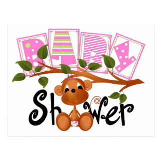 Pink Monkey Baby Shower Cards Postcard