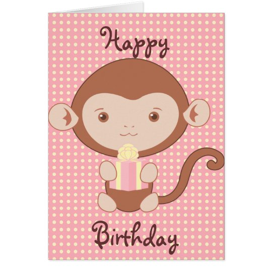 Pink Monkey Birthday Card