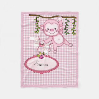 Pink Monkey Fleece Blanket