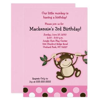 Pink Monkey Girl Birthday Invitation