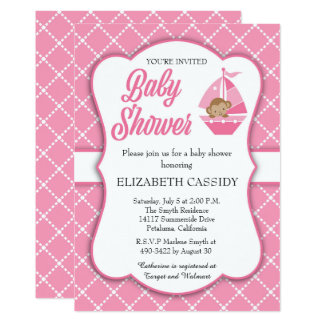 Pink Monkey in Boat, Girl Baby Shower Invitation