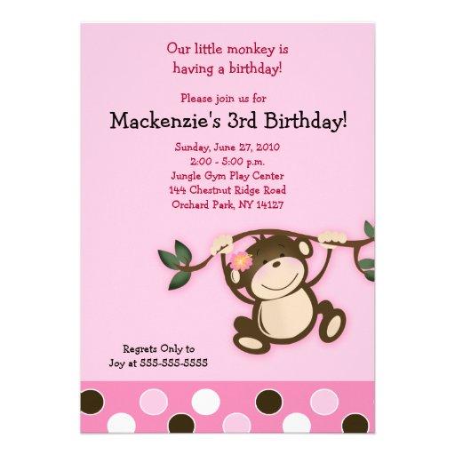 Pink Monkey Play 5x7 Birthday Invitation