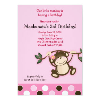Pink Monkey Play 5x7 Birthday Invitation