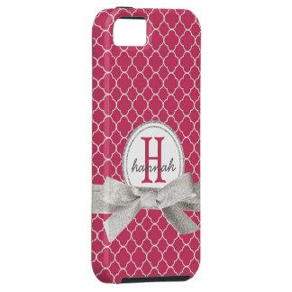 Pink Monogram  Faux Glitter Quatrefoil iPhone 5 Cover