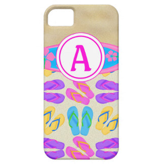 Pink Monogram Flip Flops Surfboard iPhone 5 Case