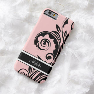 Pink Monogram Floral Barely There iPhone 6 Case