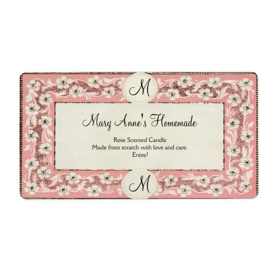 Pink Monogram Floral Custom Label