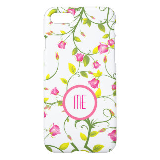 Pink Monogram Floral Pattern iPhone 7 Case