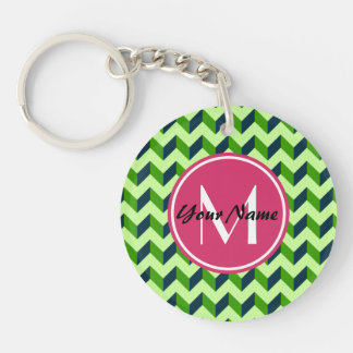 Pink Monogram Green Chevron Patchwork Pattern Double-Sided Round Acrylic Keychain
