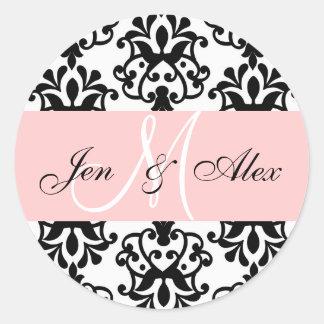 Pink Monogram Names Damask Wedding Seal Round Sticker
