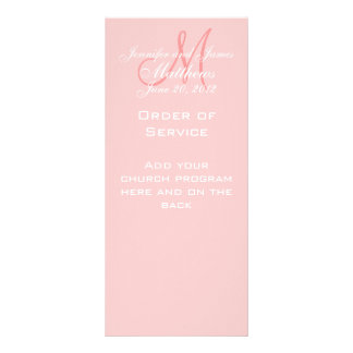 Pink Monogram Names Date Wedding Program Personalised Rack Card