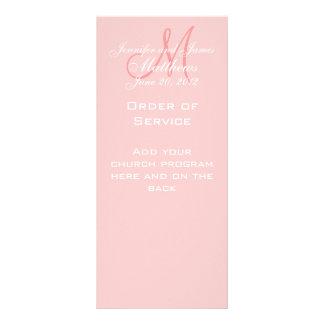 Pink Monogram Names Date Wedding Program Customized Rack Card