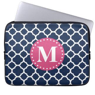 Pink Monogram Navy Quatrefoil Pattern Laptop Sleeve
