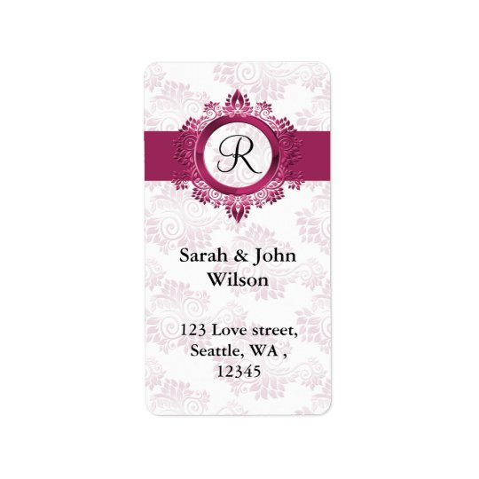 pink monogram return address label