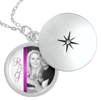 PInk Monogram Silver Wedding Necklace