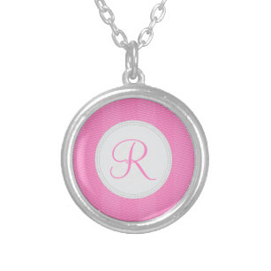 Pink Monogram Thin Chevron Pattern Silver Plated Necklace