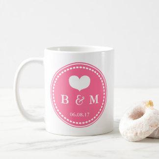 Pink Monogram Wedding Date Mug