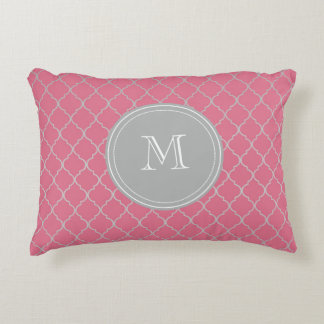 Pink Monogramed Moroccan Decorative Cushion