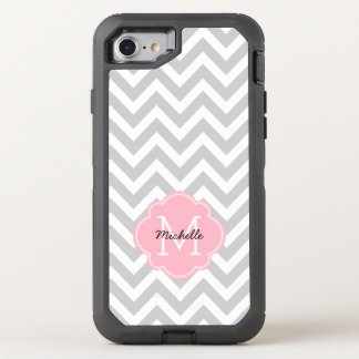 Pink Monogrammed Chevrons Pattern OtterBox Defender iPhone 8/7 Case