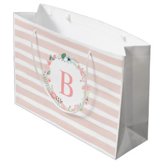 Pink Monogrammed Floral Wreath Large Gift Bag