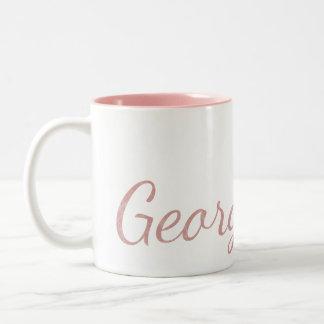 Pink Monogrammed Textured Name Two-Tone Coffee Mug
