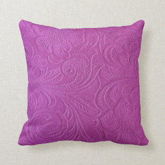 Pink Monotones Floral Swede Leather look Throw Pillow
