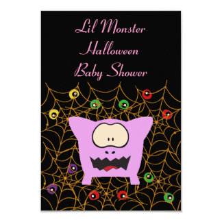 Pink Monster Baby Shower Invitation Cards