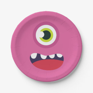 Pink Monster Face Paper Plate