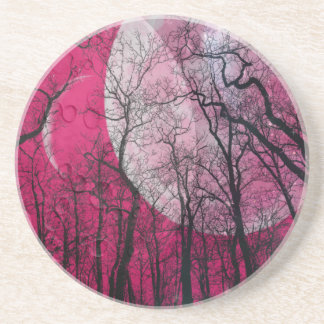 Pink moon forest customize color coaster