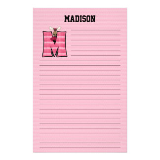 "Pink Moose Mongram ""M"" Lined Stationery"