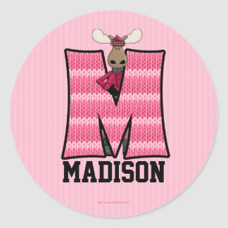"""Pink Moose Monogram """"M"""" Personalized Stickers"""
