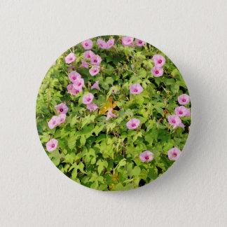 Pink Morning Glories Bush 6 Cm Round Badge