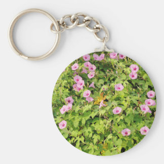 Pink Morning Glories Bush Basic Round Button Key Ring
