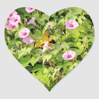 Pink Morning Glories Bush Heart Sticker