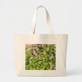 Pink Morning Glories Bush Large Tote Bag