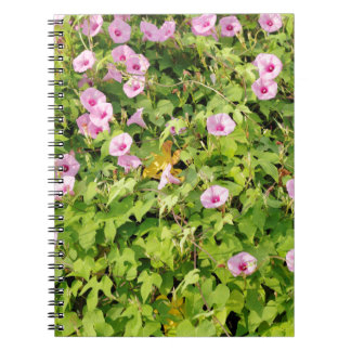 Pink Morning Glories Bush Notebook