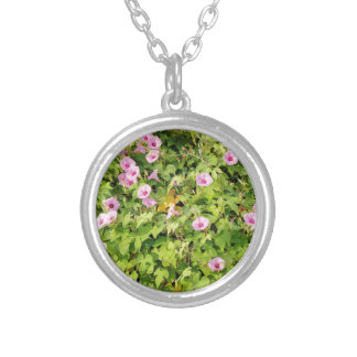 Pink Morning Glories Bush Silver Plated Necklace