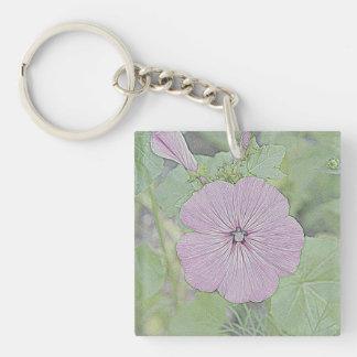 Pink Morning Glory Single-Sided Square Acrylic Key Ring