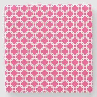 Pink Moroccan Geometric Design Marble Stone Beverage Coaster