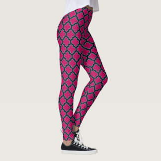 Pink Moroccan Mosaic Ethnic Style Leggings
