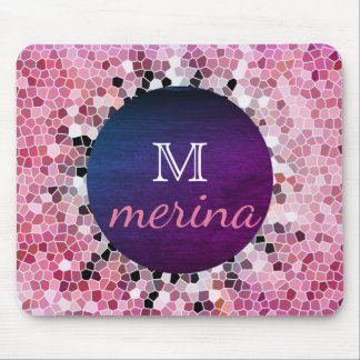 Pink Mosaic Floor  Geometric Tiles Pixel Mouse Pad