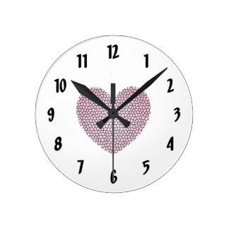 Pink Mosaic Heart Wall Clock